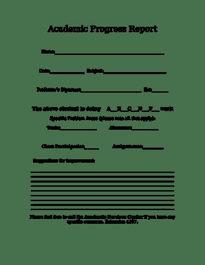 19 Printable academic progress report format Templates