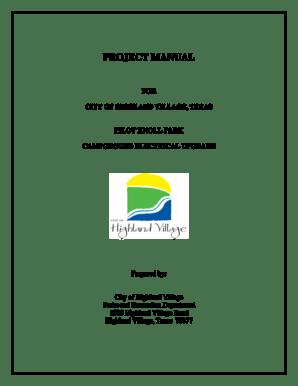 Fillable Online highlandvillage PROJECT MANUAL 2 PILOT