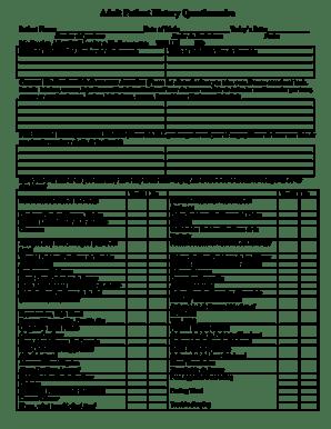 Fillable Online Adult Patient History Questionnaire Fax