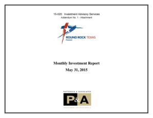 Fillable Online roundrocktexas Monthly Investment Report
