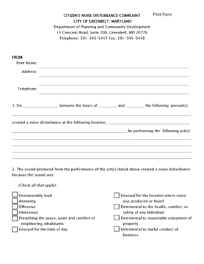Fillable Online greenbeltmd Noise Complaint form