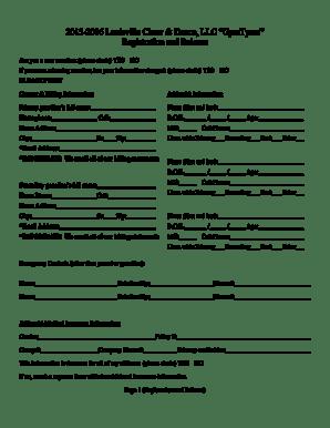 Fillable Online 2015-2016 Louisville Cheer Dance LLC