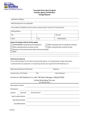 Fillable Online TBI Waiver Provider Change Request Form