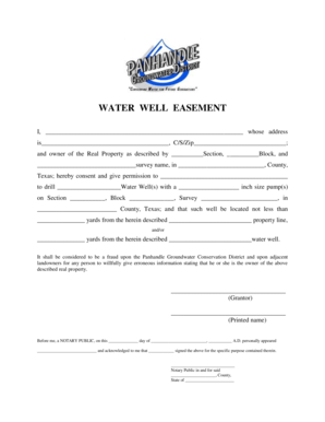 Fillable Online WATER WELL EASEMENT Fax Email Print