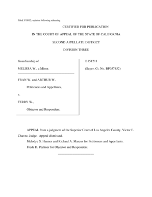 Fillable Online SECOND APPELLATE DISTRICT B151211
