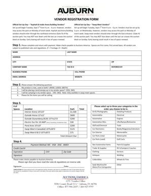 Fillable Online Official SetUp Day Swap Meet Vendors Fax