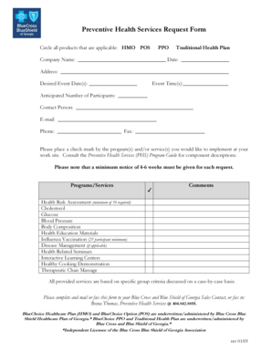 Fillable Online Preventive Health Services Request Form