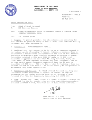 Fillable Online BUPERSINST 70406 FINANCIAL MANAGEMENT