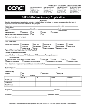 Fillable Online ccac 2015 2016 Work-study Application