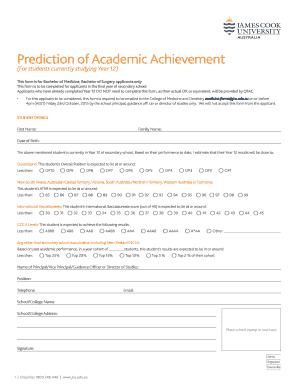 Fillable Online jcu edu Prediction of Academic Achievement