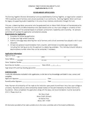 Fillable Online COMING TOGETHER SCHOLARSHIP FUND Fax Email