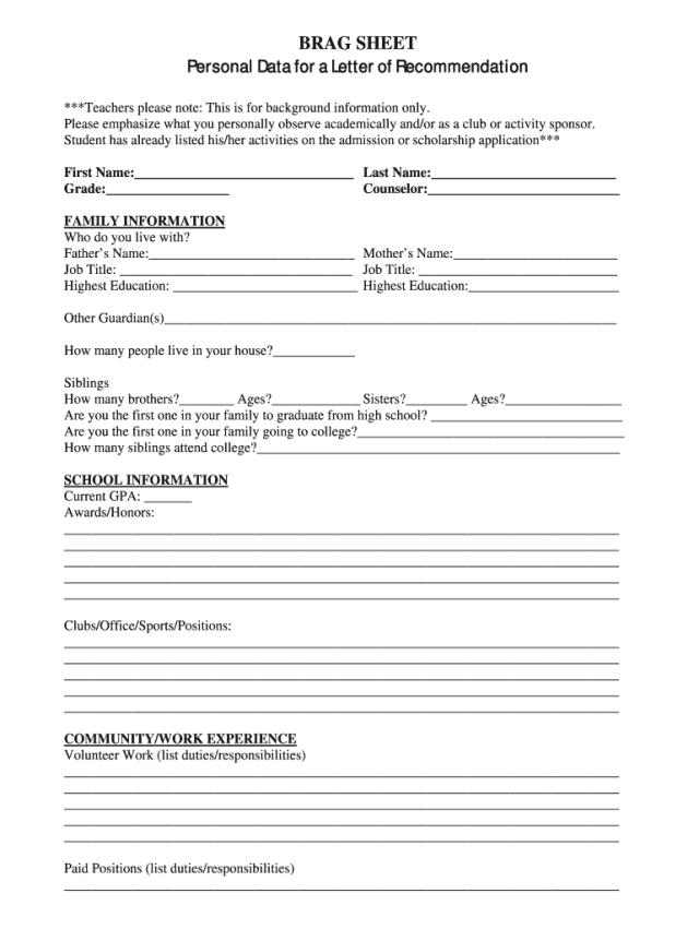 Brag Sheet Personal Data for a Letter of Recommendation - Fill and
