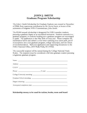 Fillable Online John J Smith Scholarship application Fax