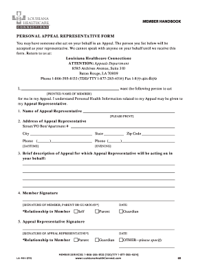 Fillable Online PERSONAL APPEAL REPRESENTATIVE FORM Fax