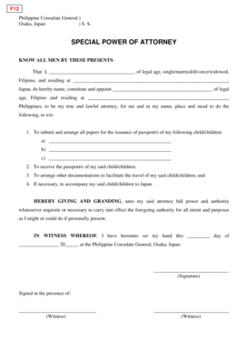 14 Printable special power of attorney philippine embassy