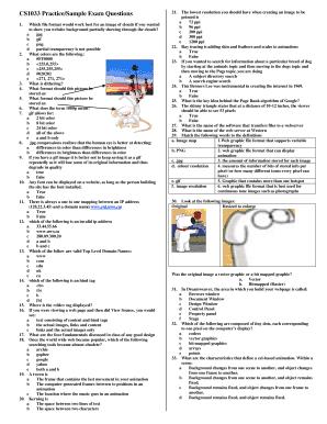 Fillable Online csd uwo CS033 PracticeSample Exam
