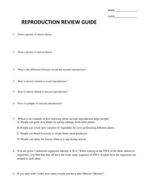 Fillable Online NAME CLASS REPRODUCTION REVIEW GUIDE
