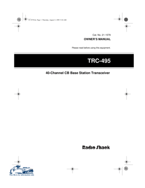 Fillable Online RADIO SHACK TRC-495 OWNER'S MANUAL Pdf
