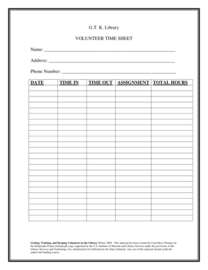 Student Volunteer Time Sheet Forms and Templates