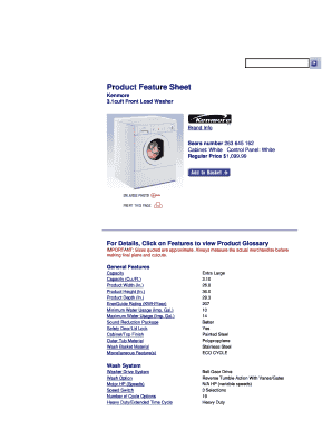 Fillable Online www5 sears 1cuft Front Load Washer Brand