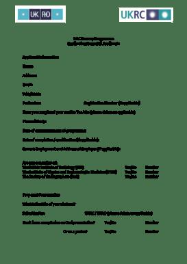 Fillable Online ROC Bursary Programme Application Form UK