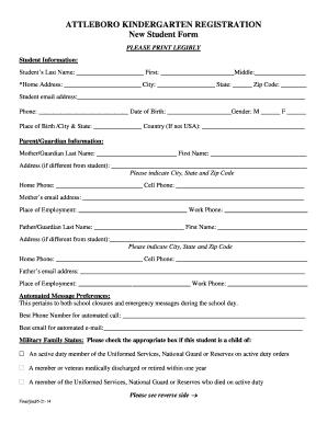 Fillable Online ATTLEBORO KINDERGARTEN REGISTRATION Fax