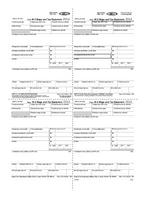 Fillable Online Form W-2 Wage and Tax Statement 2015 OMB
