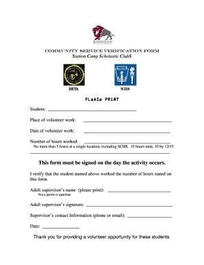 19 Printable volunteer hour sheet high school Forms and