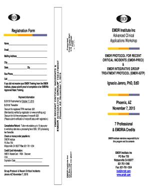 Fillable Online Registration Form EMDR Institute Inc