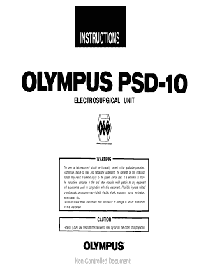 Fillable Online Instruction ManualPSD-10 Electrosurgical