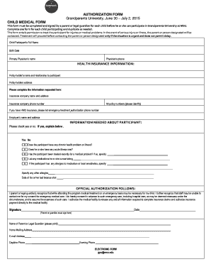17 Printable medical authorization form for grandparents