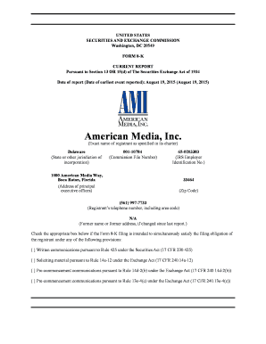 Fillable Online AMI-20150630 Form 8-K Earnings Release