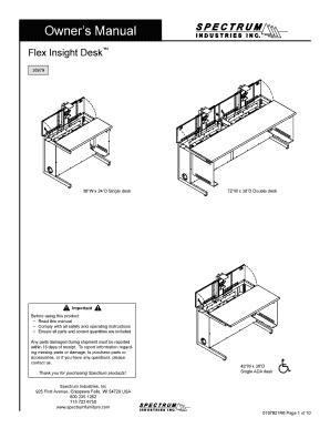 Fillable Online Owners Manual Flex Insight Desk 38979 36W