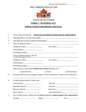 Fillable Online FORM 1 PLANNING ACT Fax Email Print