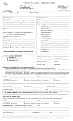 Fillable Online TOWN OF BEAUMONT APPLICATION FORM Fax