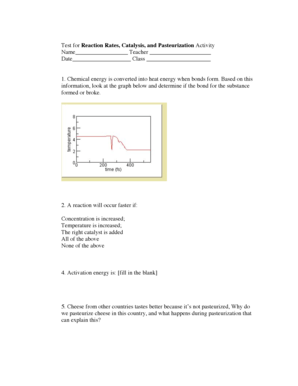 Fillable Online Test for Reaction Rates, Catalysis, and