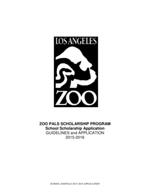 Fillable Online lazoo ZOO PALS SCHOLARSHIP PROGRAM School