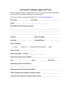 Fillable Online Advanced Training Approval Form