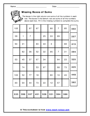 Fillable Online Sums of Numbers Box Puzzle basic math Fax