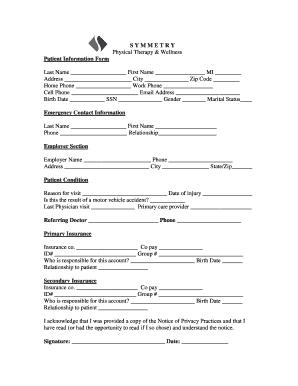 Fillable Online S Y M M E T R Y Patient Information Form
