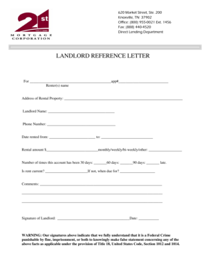 28 Printable Landlord Reference Letter Forms and Templates