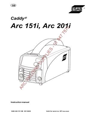 Fillable Online arcweld co Caddy Arc 151i Arc 201i