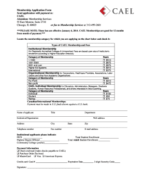 Fillable Online cael CAEL Membership Application Form
