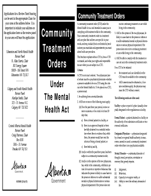 Fillable Online Community Treatment Orders Under the