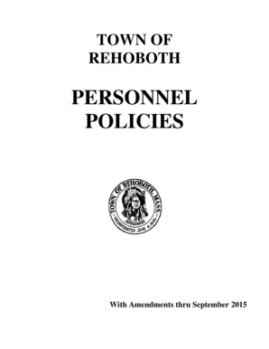 Fillable Online TOWN OF REHOBOTH PERSONNEL POLICIES With