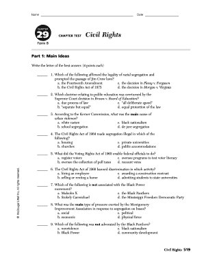 Fillable Online CHAPTER 29 CHAPTER TEST Civil Rights Fax