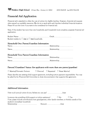Fillable Online holdenhigh Financial Aid Application