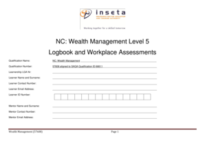 Fillable Online NC Wealth Management Level 5 Logbook and