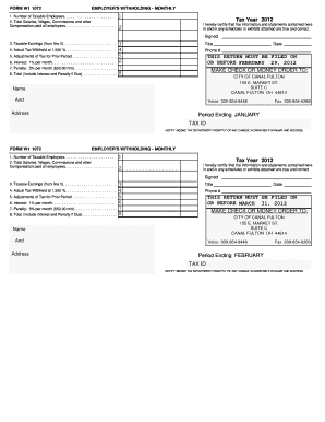 Fillable Online cityofcanalfulton-oh FORM W1 1072 EMPLOYER