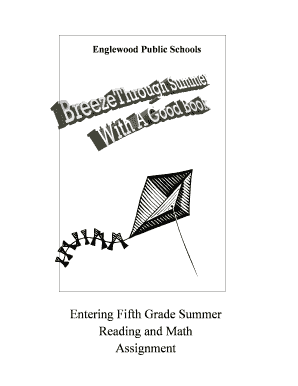 Fillable Online Entering Fifth Grade Summer Fax Email